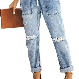Jeans - Gather Round Distressed Pocketed Denim Jogger